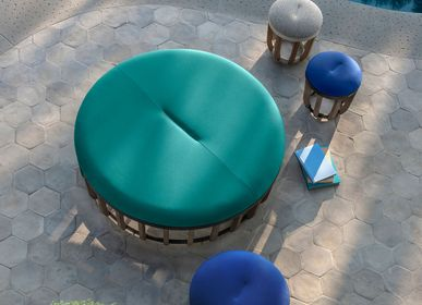 Lawn sofas   - Swing collection, Pouf in teak and metal. - ETHIMO