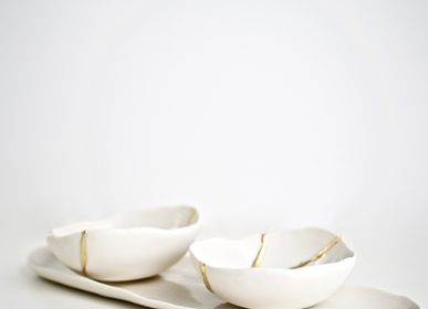 Decorative objects - KINTSUGI BOWL, BOWL, JEWELRY HOLDER, WHITE PORCELAIN AND GOLD LEAF - MAISON GALA