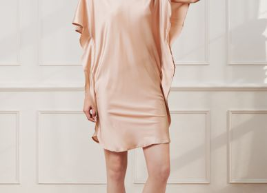 Sleepwear - Lotus Silk Dress | Cocoa Butter - THE ANNAM HOUSE
