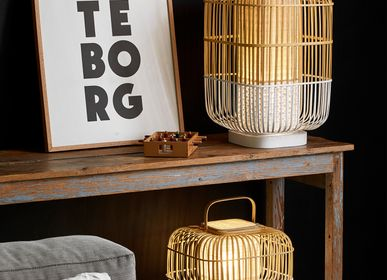 Table lamps - Table lamp and lantern BAMBOO SQUARE - FORESTIER
