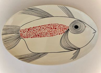 Design objects - Magnificent and colourful hand-painted oval ceramic plate with beautiful modern marine decoration  - CERASELLA CERAMICHE