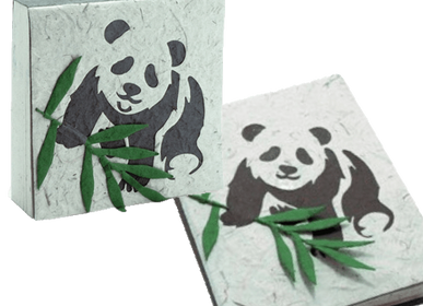 Stationery - Elephant Dung Panda Notepad and Notebook Set - RUE RANGOLI