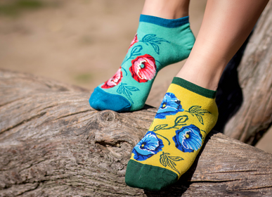 Socks - Bamboo ankle socks Poppies - PIRIN HILL