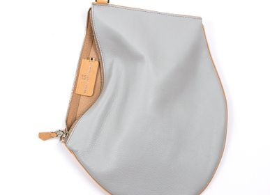 Bags and totes - Zip XL- Grey pearl and natural leather with removable and adjustable strap - MLS-MARIELAURENCESTEVIGNY