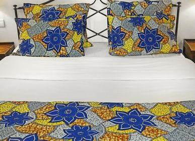 Bed linens -  Deco Set - Pillowcases & Bed Runner - Original Collection - BLUE FLOWER - HÙMA HOME PARIS