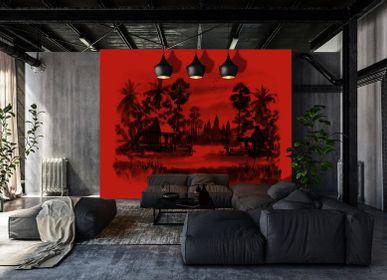 Papiers peints - Papier peint panoramique Jungle rouge  - INCREATION