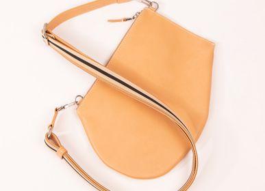 Pochettes - Pochette bandoulière - Zip Maxi - Cuir naturel - avec bandoulière ajustable et amovible - MLS-MARIELAURENCESTEVIGNY
