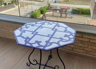 """Tables de jardin - Table octogonale en grès peint à la main 80x80 cm """"Marianna» - CERASELLA CERAMICHE"""