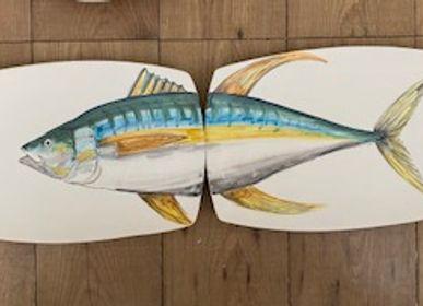 Assiettes de réception - Paire de plateaux de sushi en céramique peinte à la main 38x22 cm, «le poisson en deux». - CERASELLA CERAMICHE