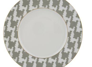Formal plates - Presentation plate 32 cm dark grey (Pied de Poule) - LEGLE