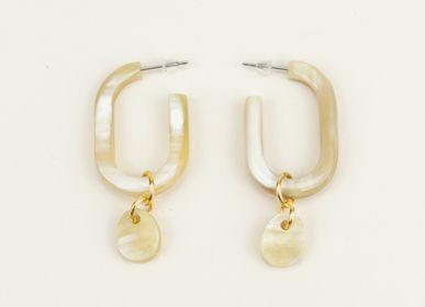 Bijoux - Boucles d'oreilles en corne naturelle - L'INDOCHINEUR PARIS HANOI