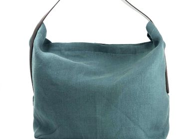 Bags and totes - Lino Tote Bag — Celadon/100% French Linen - L'ATELIER DES CREATEURS