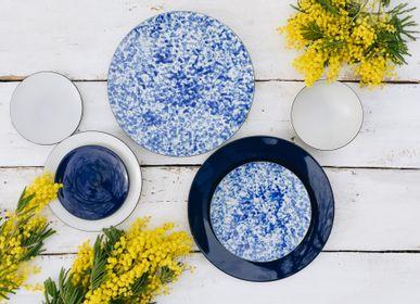 Everyday plates - Ocean Vibes Blue Round Dessert Plate in Black Ceramic - REVOL