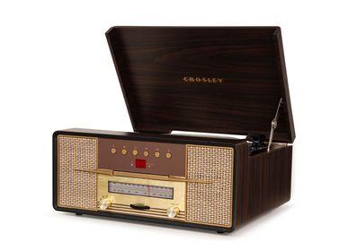 Speakers and radios - Crosley Rhapsody Entertainment Center Mahogany (CD/ Bluetooth/ cassette/ vinyl player) - CROSLEY RADIO