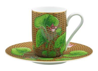 Mugs -  Trésor Fleuri - Expresso cup and saucer Asarum brown 12 - RAYNAUD
