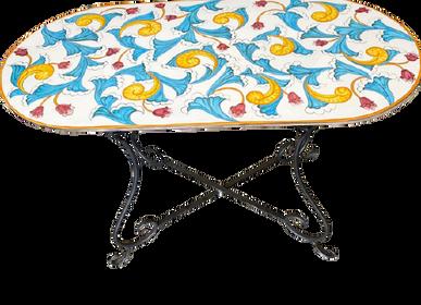 Tables de jardin - Magnifique table Vietri ovale en grès peint à la main avec pied en fer - CERASELLA CERAMICHE