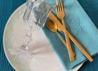 """Assiettes de réception - Ensemble de 4 assiettes plates """"les herbes folles"""" - GARANCE CRÉATIONS"""