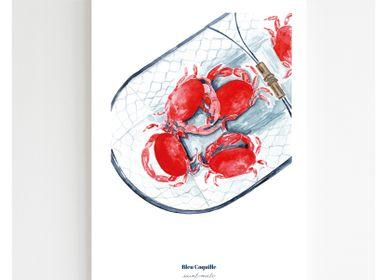 Affiches - Affiche A4 - Panier de Crabes - BLEU COQUILLE