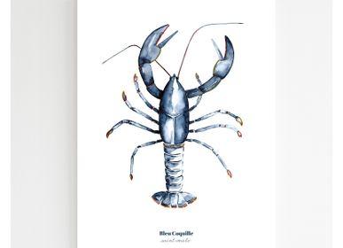 Affiches - Affiche 30x40 - Homard Bleu - BLEU COQUILLE