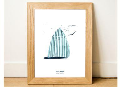 Poster - Poster 30x40 - Beach hut in Dinard - BLEU COQUILLE