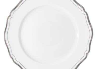 Assiettes de réception -  Polka Platine - Assiette plate à aile 31 - RAYNAUD