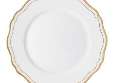 Assiettes de réception -  Polka Or - Assiette plate à aile 27 - RAYNAUD