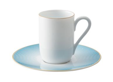 Mugs - Aura - Expresso cup Monceau gold and saucer Aura azure - RAYNAUD
