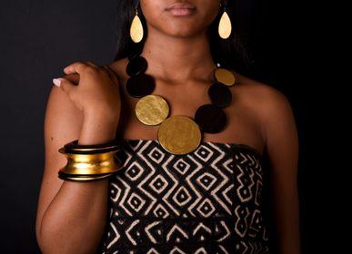 Jewelry - ebony necklace 24 carat gold leaf - BÉ DOGON ART