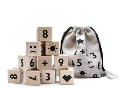 Toys - Math Blocks  - Ten wooden math-themed blocks with emojis in a cotton linen sack - OOH NOO
