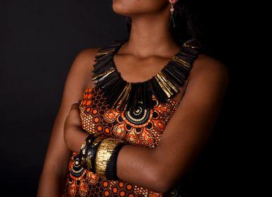 Jewelry - raw ebony necklace 24 carat gold leaf - BÉ DOGON ART