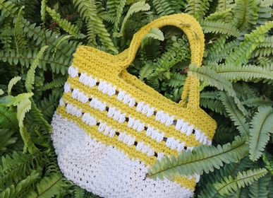 Bags and totes - Summer Tote Yellow and White - TECLA BARCELONA