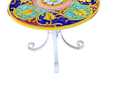 Tables pour hôtels - Superbe table de jardin en grès peint à la main   - CERASELLA CERAMICHE