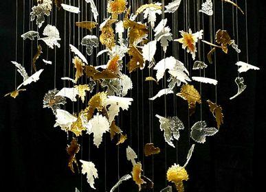 Hanging lights - Bespoke art glass chandelier Autumn Leaves - BARANSKA DESIGN