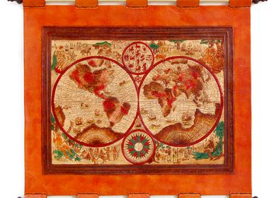 Other wall decoration - Leather Tapestry World Map - MERYAN