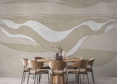 Hotel bedrooms - Beige deep wave | Handcrafted Wallpaper - AFFRESCHI & AFFRESCHI