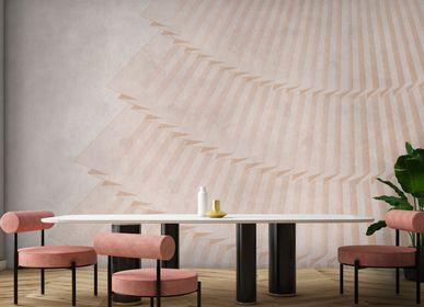 Decorative frescoes - Pink fan vertical plissé | Handmade Wallpaper  - AFFRESCHI & AFFRESCHI