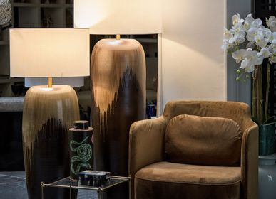 Lampadaires - Lampe basse vase marron - ASIATIDES