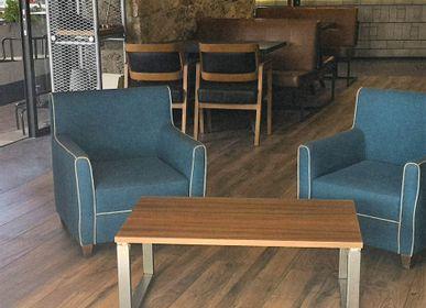 Tables basses - Table basse de type industriel avec plateau en noyer - LIVING MEDITERANEO