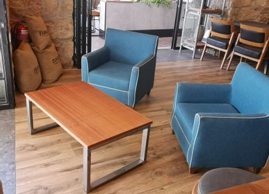 Tables basses - Table basse de type industriel en acajou - LIVING MEDITERANEO