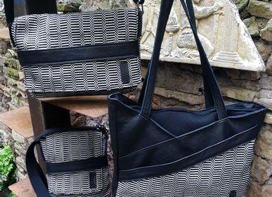 Sacs et cabas -  Sac fourre-tout, Crossover, sac à bandoulière, sac à main en coton sarde et cuir - ELENA KIHLMAN