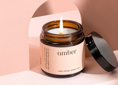 Candles - minimal scented candle 100% vegetable wax amber - MIA COLONIA