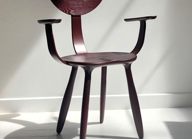 Office seating - Daiku armchair in stained ash wood by Victoria Magniant - VICTORIA MAGNIANT POUR GALERIE V