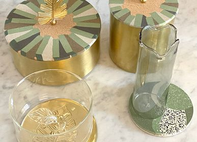 Storage boxes - Tiled Brass Box With A Leaf Handle - ASMA'S CRAFTS