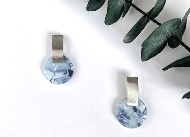 Jewelry - Silver and blue acetate earrings - NAO JEWELS