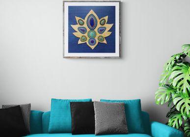 Orfèvrerie - Tableau en métal et pierres fines BLUE LOTUS - FLAVYART