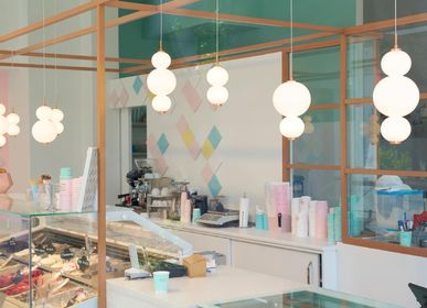 Plafonniers - Bonbon Module simple grand verre blanc - ATOLYE STORE