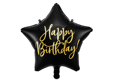 Objets de décoration - Ballon en aluminium Happy Birthday, 40cm, noir - PARTYDECO