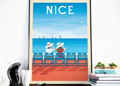 Poster - VINTAGE TRAVEL POSTER NICE FRANCE | CITY ILLUSTRATION NICE FRENCH RIVIERA PRINT - OLAHOOP TRAVEL POSTERS