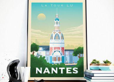 Affiches - AFFICHE VOYAGE VINTAGE NANTES FRANCE | POSTER ILLUSTRATION VILLE NANTES - LA TOUR LU - OLAHOOP TRAVEL POSTERS