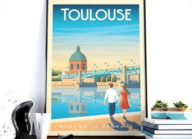 Poster - TOULOUSE FRANCE VINTAGE TRAVEL POSTER |  TOULOUSE FRANCE - QUAI DE LA DAURADE POSTER CITY ILLUSTRATION - OLAHOOP TRAVEL POSTERS